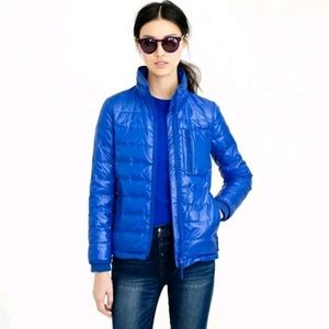 J. CREW Lightweight Down Jacket Puffer Coat Zip Quilted Shiny Regal Blue Small
